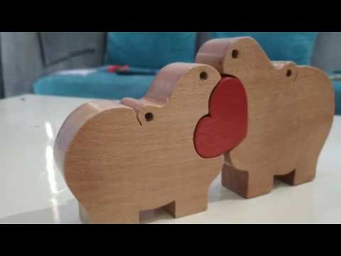 DIY hippo wooden puzzle toy free dxf file in description