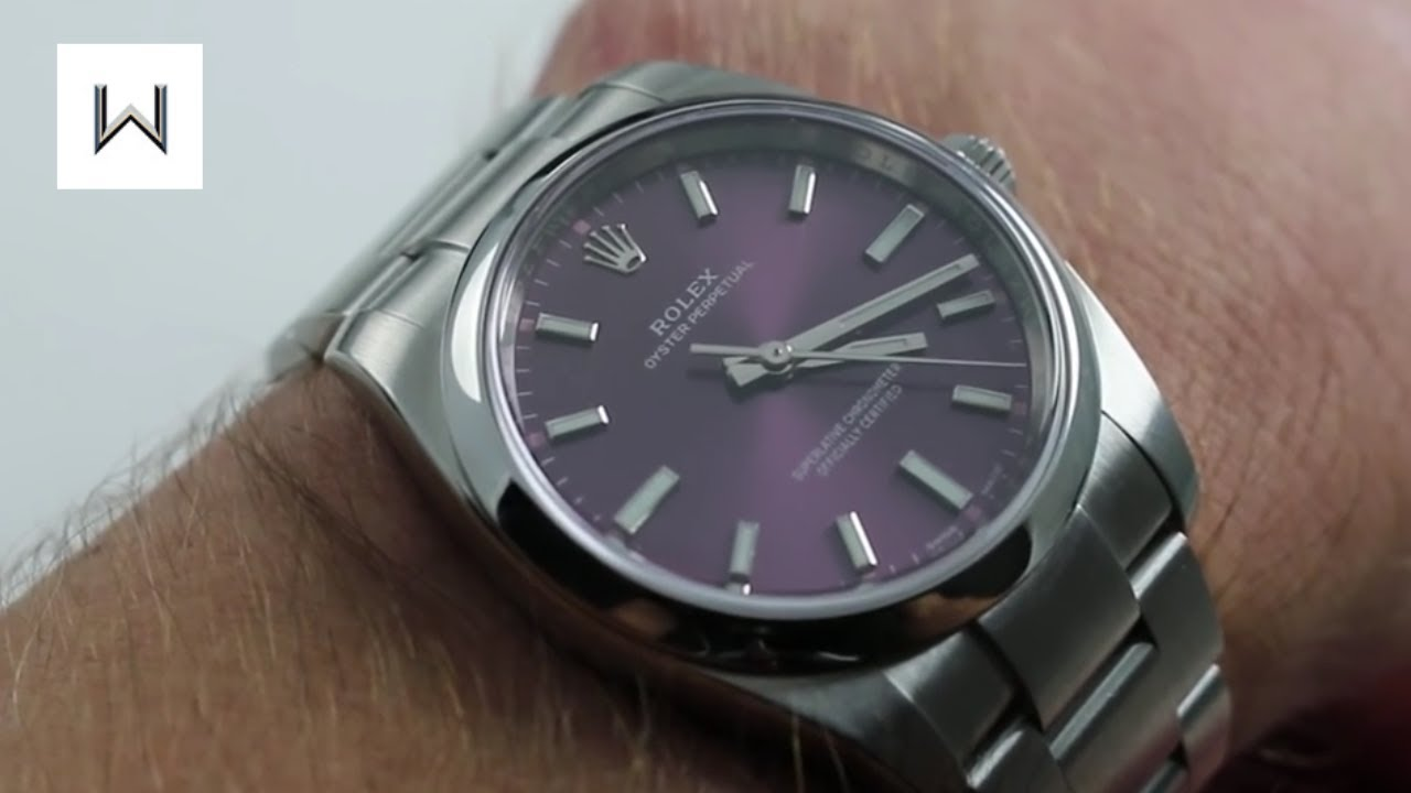 ed12121f321f4 Rolex Oyster Perpetual 34 114200 Purple Dial Luxury Watch Review ...