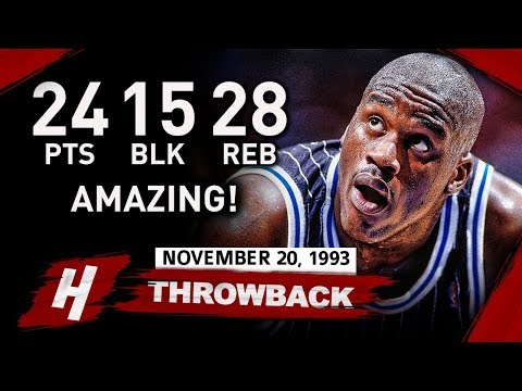 Shaquille ONeal AMAZING TripleDouble Highlights vs Nets 19931120  24 Pts, 28 Rebs, 15 BLOCKS!