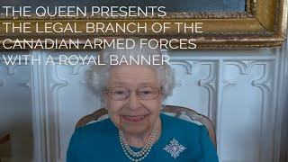 The Queen presents the Legal Branch of the Canadian Armed Forces with a Royal Banner.