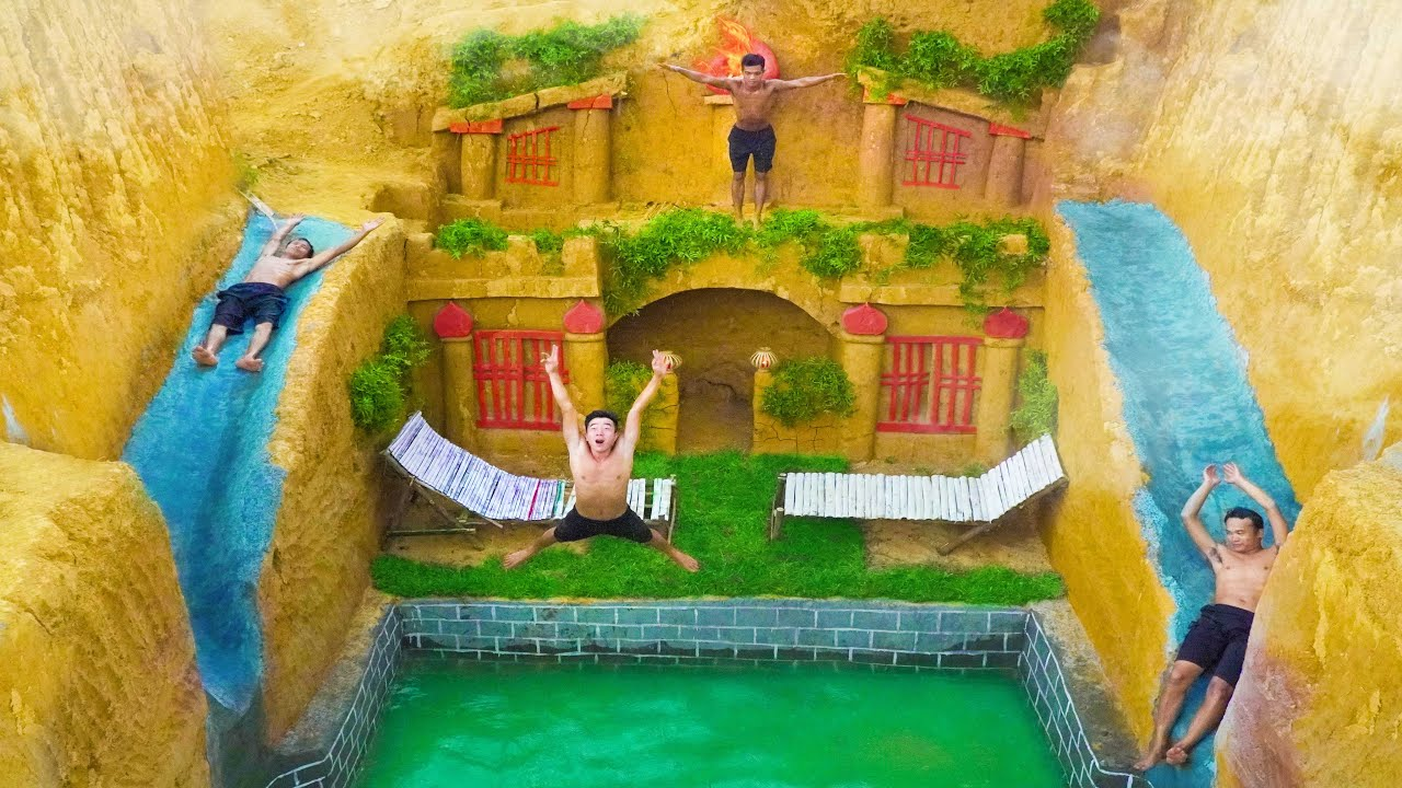 How To Build The Most Amazing Underground Swimming Pool Water Slide Around Underground House