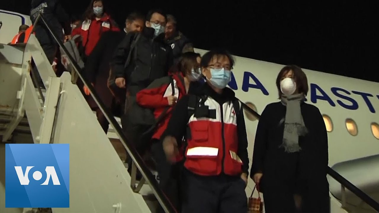 Chinese Team Arrives to Assist in Italy Coronavirus Battle - YouTube