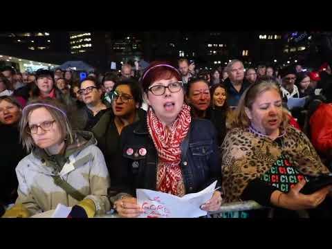 Fans sing Bobcaygeon at Choir! Choir! Choir! tribute to Gord Downie