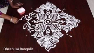 creative lotus kolam design with 6x6 dots * small daily  kolam design * easy muggulu