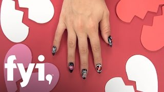 Valentine's Nail Art Tutorial: Break-Up Nails | FYI