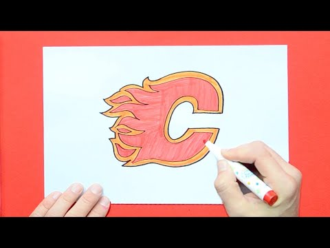 How To Draw The Calgary Flames Logo (NHL Team)