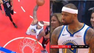 DeMarcus Cousins Shocks Warriors Bench with his first EPIC dunk as a Warrior