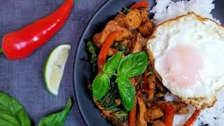 Thai Basil Chicken with Peppers (Pad Krapow Gai) || 10-minute recipe