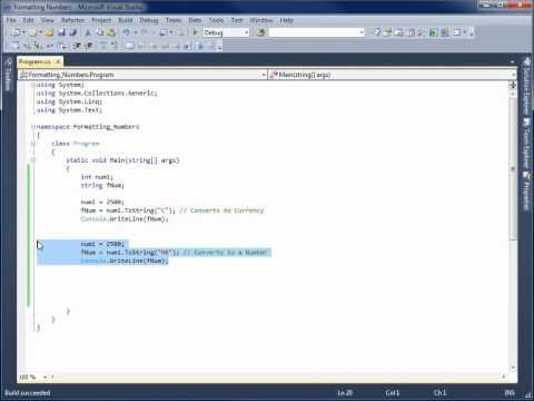 Visual C# 2010 Lesson 8 - Converting Numbers to Formatted Strings