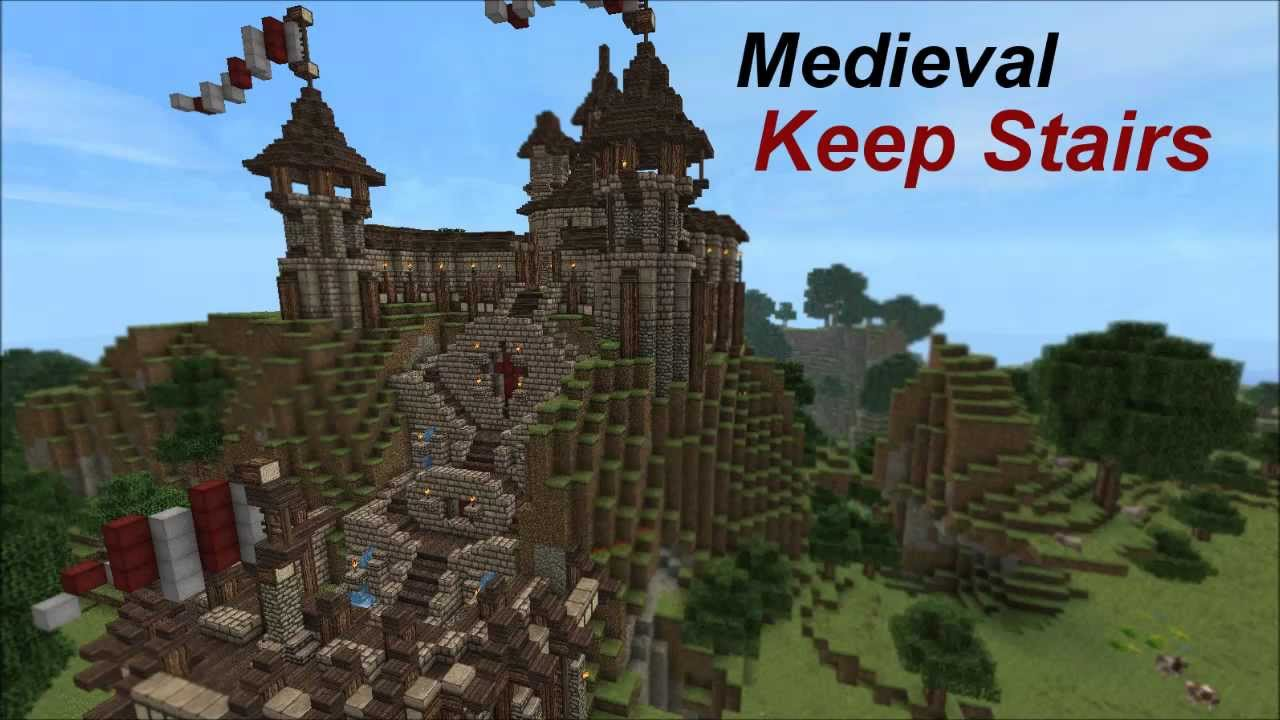 Minecraft Medieval Keep Stairs Tutorial Youtube