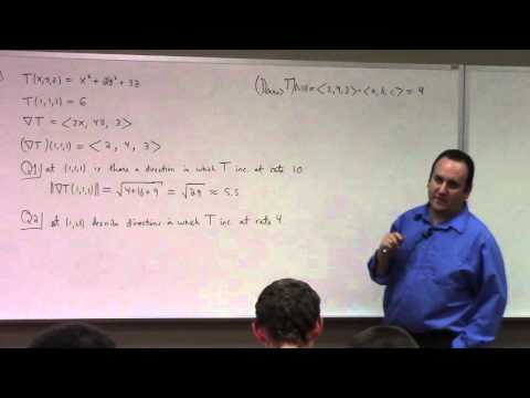 Multivariate Calculus: Lecture 21 part 1:  gradients in 3D, deriving unit-vector fields