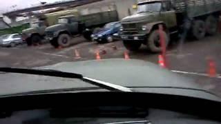 Вождение Зил-131 по площадке в автошколе