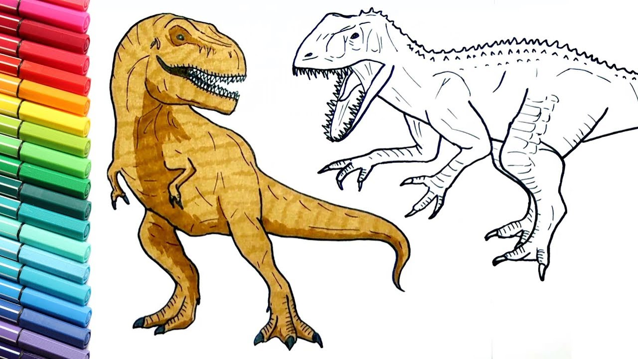 Induminus Vs Trex Jurassic World Dinosaurs Color Pages For Kids