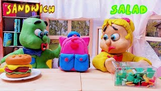 Green Baby WIN in LUNCHBOX SWITCH UP CHALLENGE - Stop Motion Cartoons For Kids
