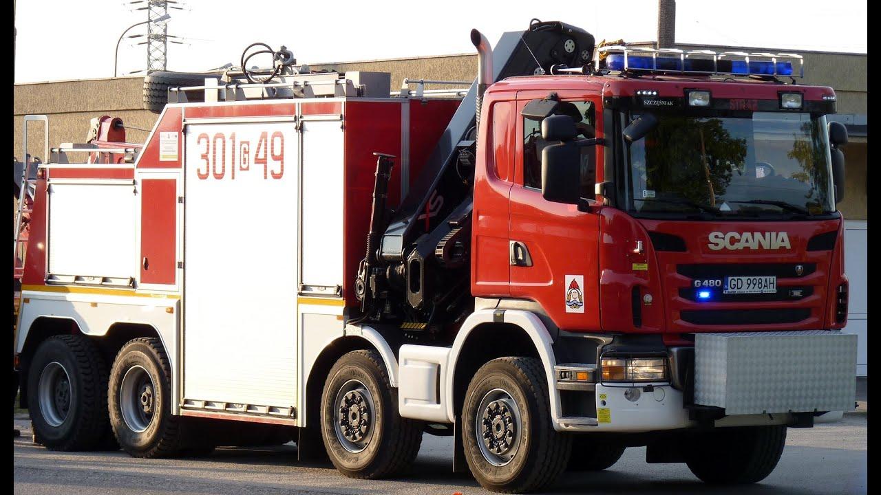 scania g480   liebherr ltm1070 - fire trucks