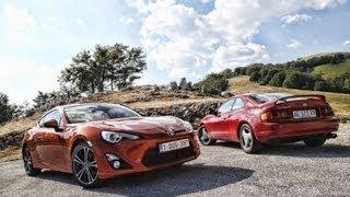 Toyota GT86 prova test drive vs Toyota Celica GT Four(Le emozioni alla guida della GT86 affondano le radici in generazioni di sportive Toyota., 2012-08-08T15:59:39.000Z)