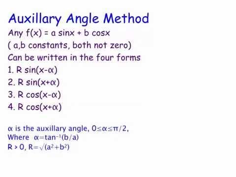 Solving Trigonometric Equations Auxilliary Angle Method