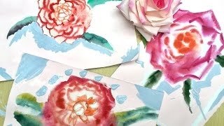 HOW PAINTING FLOWERS. Speed painting No 3. ROSE Flower. Video lesson watercolour painting