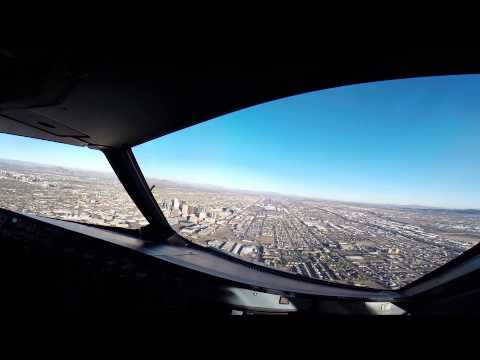 Airbus 320 landing PHX flight deck view.