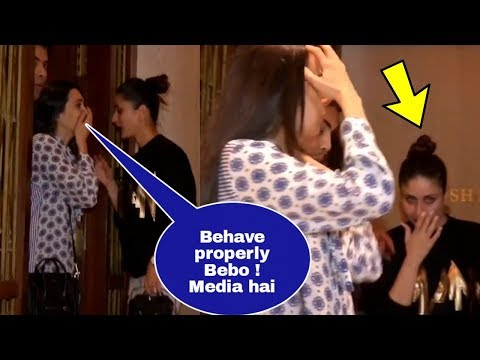 Karisma Kapoor warns drunk Kareena Kapoor Khan to behave properly in front of media !Manish party