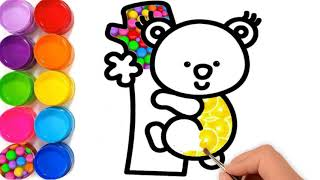 Cute Animals Coloring Pages/ How To Draw Koala Bear/ Learn Colors For Kids