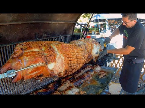 Whole Huge Pig Roasted and Cut. Austria Street Food