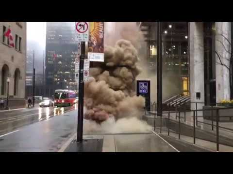 Guy Films Explosion Under Sidewalk Grate Just After He Walked Over It