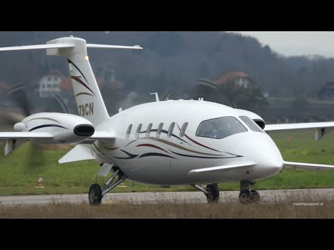 Piaggio P180 Avanti - N79CN - Take-Off at Bern Airport
