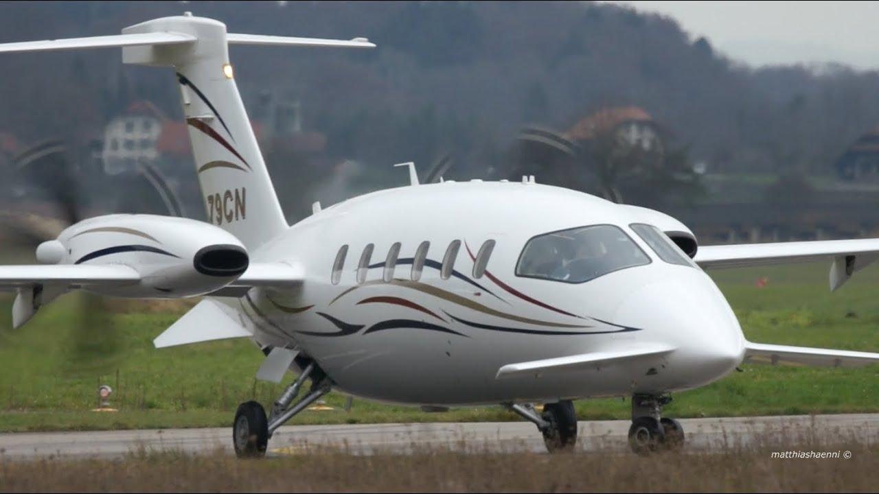 piaggio p180 avanti - n79cn - take-off at bern airport - youtube