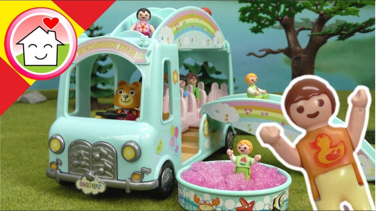 Playmobil en español El autobús de la fiesta infantil: historias en la guardería - La Familia Hauser