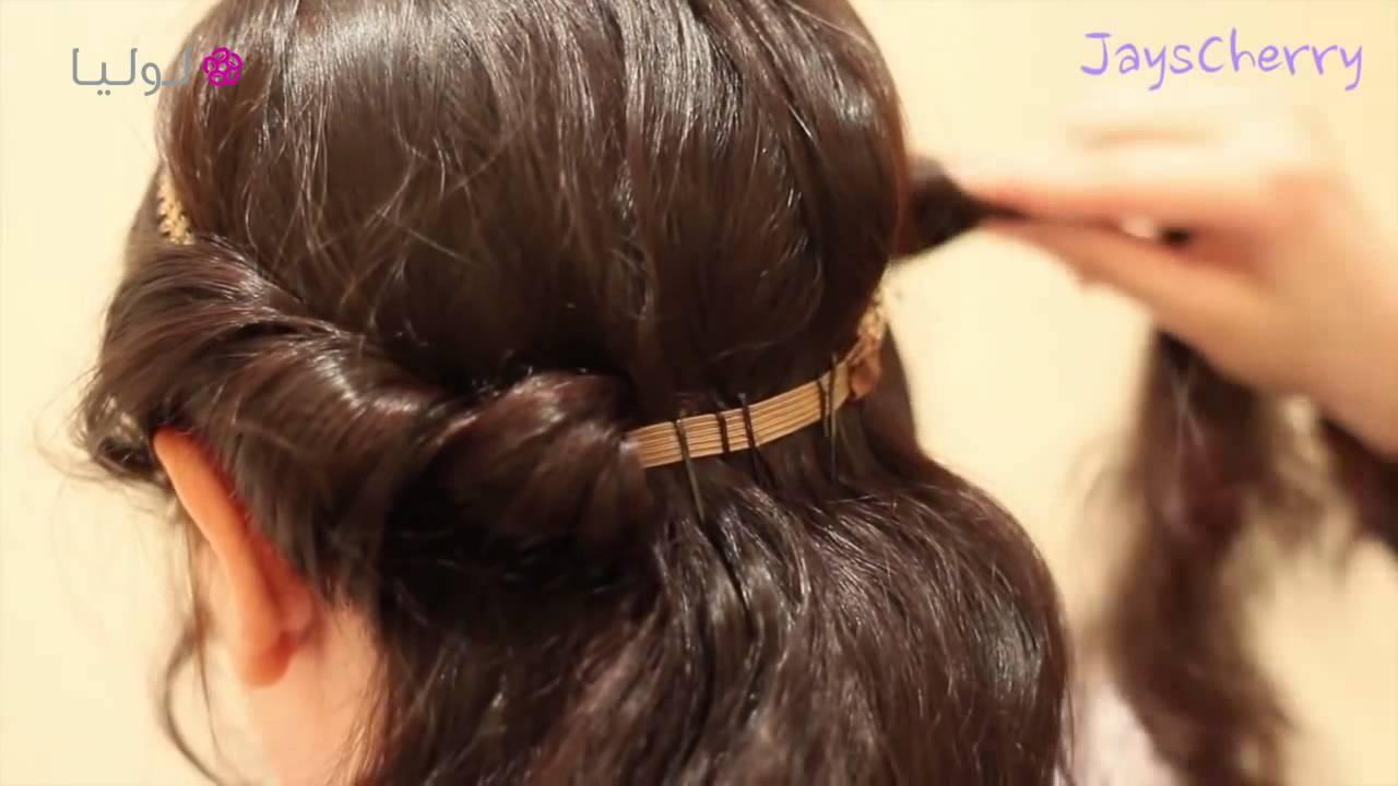 1523582f22ca5 تسريحة شعر بسيطة للحفلات - YouTube