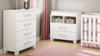 South Shore Cuddly Changing Table With Removable Changing Station In Modern And Stylized Pure White
