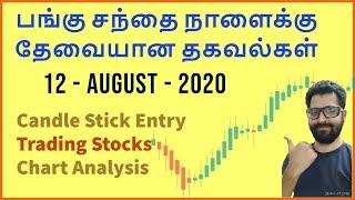 பங்கு சந்தை நாளைக்கு தேவையான தகவல்கள் - 12 - August - 2020 | Tamil Share | Intraday Trading Strategy