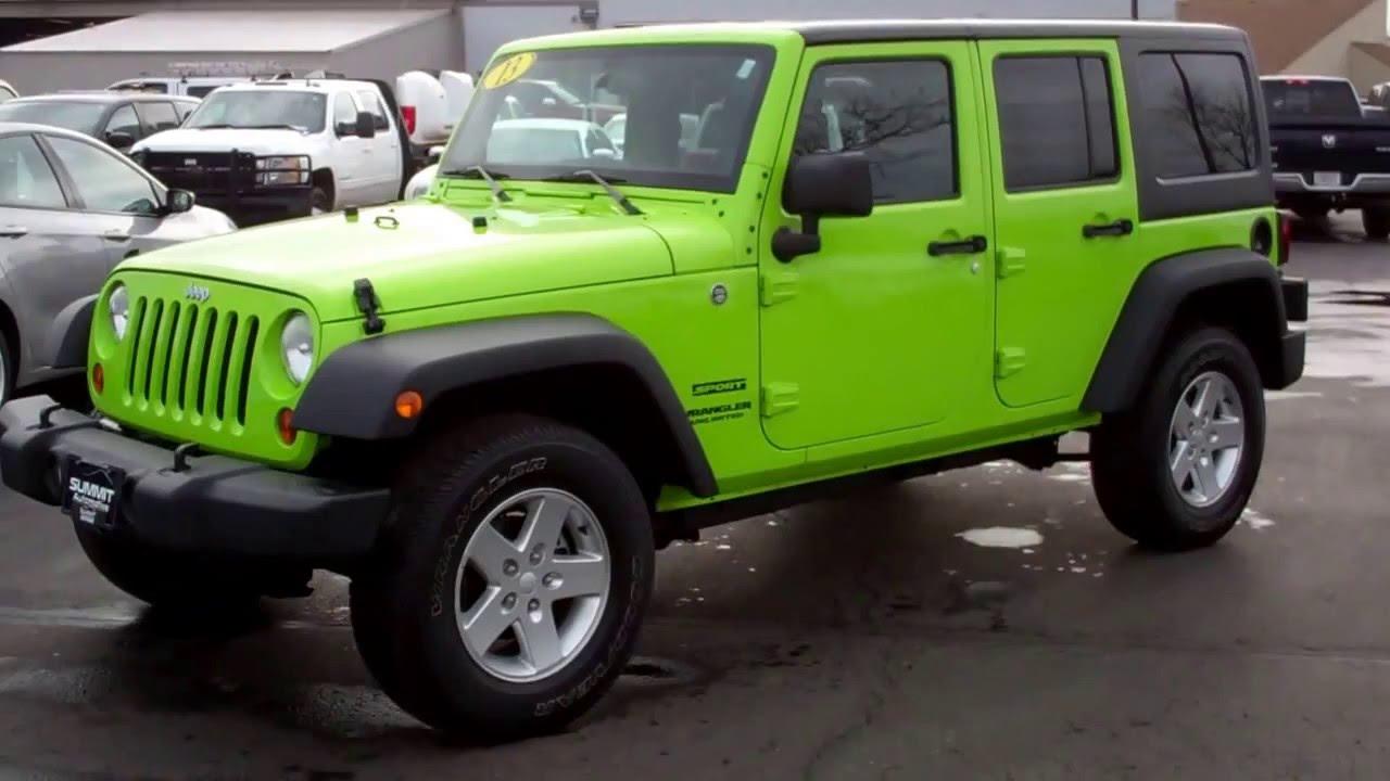 sold 6j63a 2013 jeep wrangler unlimited sport gecko green youtube. Black Bedroom Furniture Sets. Home Design Ideas