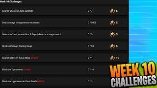 ¡Desafíos de Fortnite Week 10 LEAKED! (Búsqueda entre títulos de películas, Buscar cofres en unión basura)
