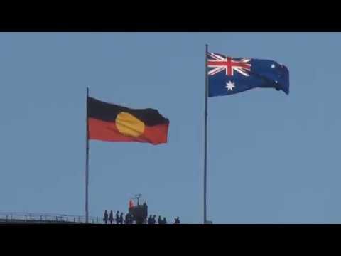 Aboriginal flag on Sydney Harbour Bridge