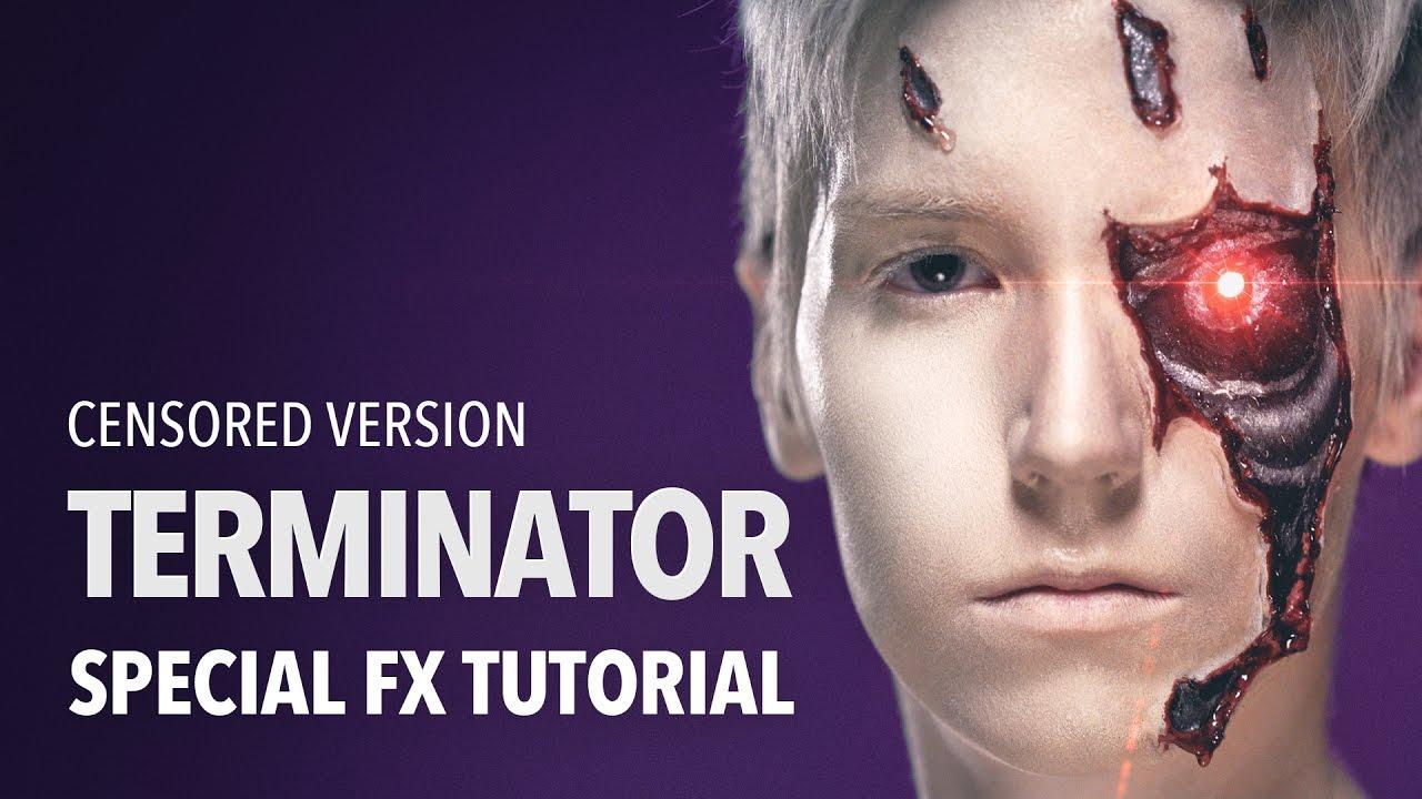 Cyborg Terminator Wound Metal Eye Latex Makeup Kit Reel F//X