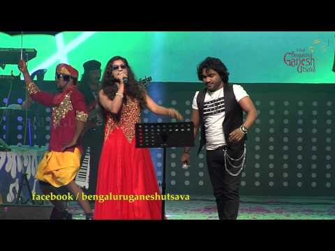 """Thukatha gadabada"" song by Arjun Janya & Indu Nagaraj @ 53rd Bengaluru Ganesh Utsava..!!!"