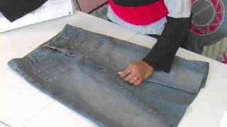 Jeans to knee length denim skirt / Recycled denims 1