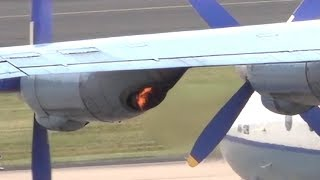 Flaming and noisy Antonov An-12 startup (and smoky takeoff!)