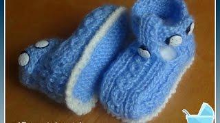 Сандалики спицами.Knitting booties for the baby
