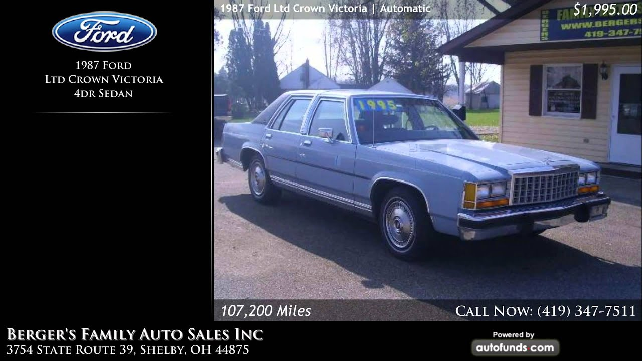 1987 ford ltd crown victoria 4dr sedan berger 39 s family auto sales inc shelby oh sold youtube. Black Bedroom Furniture Sets. Home Design Ideas