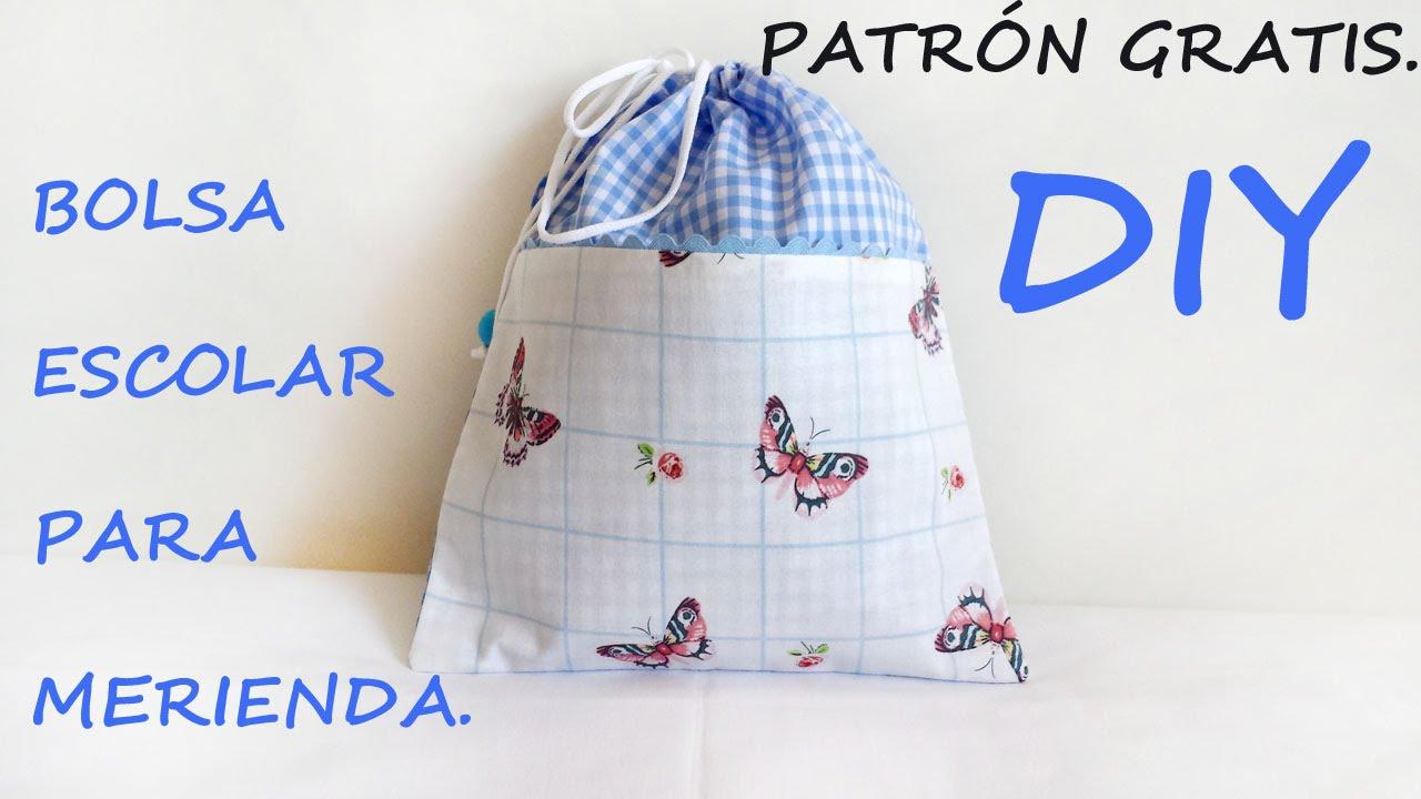 Patrón gratis !!! Como hacer una bolsa escolar para merienda. - YouTube
