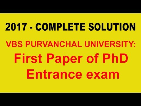 VBS PURVANCHAL UNIVERSITY: Solve of first paper of PhD entrance exam