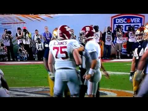 AJ McCarron and Barrett Jones Arguement