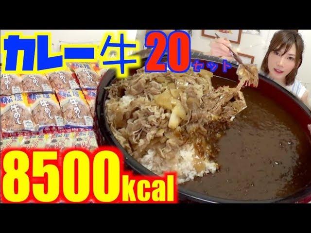 【大食い】[松屋]牛めし×カレー20セットを楽ちんお取り寄せ![4キロ]8500kcal【木下ゆうか】