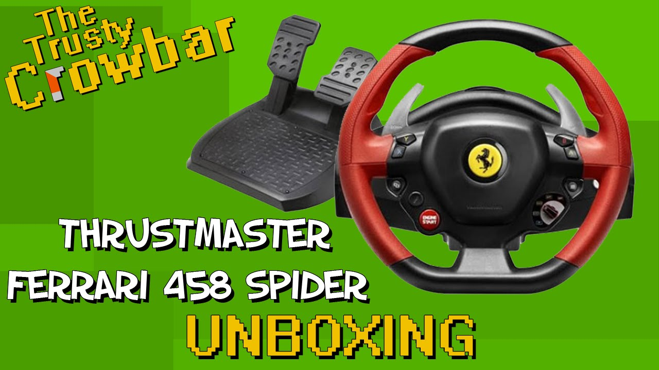thrustmaster ferrari 458 spider racing wheel unboxing. Black Bedroom Furniture Sets. Home Design Ideas