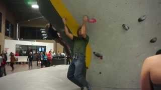 Chris Sharma and Paul Robinson climb the Pink Top-Out Problem at the ProLo Event at Momentum Lehi