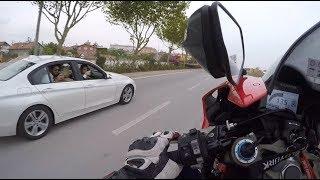 BMWcilerin Tek Teker İsteğini Kırmayan Motorcu / Tek Teker de Bmw 3.20i Sollama