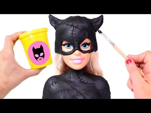 barbie-hairstyles-😻-dressing-up-barbie-styling-head-as-dc-superheroine-catwoman-|-beauty-salon